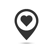 istock Map pointer with heart solid icon, Valentine's day location and love pin, love concept, vector graphics, a filled pattern on a white background 1200536966