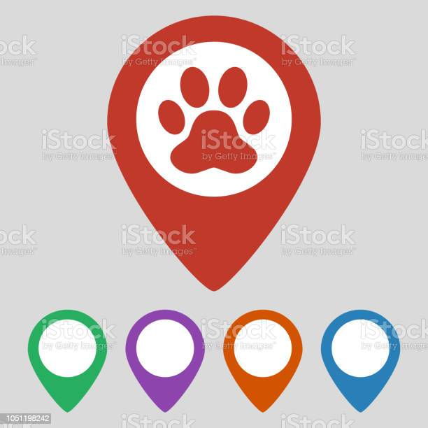 Map pointer with paw print icon on grey background vector id1051198242?b=1&k=6&m=1051198242&s=612x612&h=itmtx itlvtd8deuilg0epess8ferpbs6ld4begf e8=