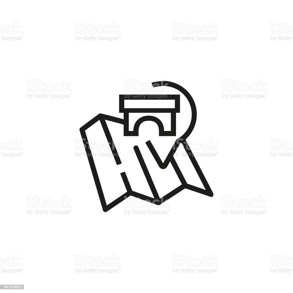 Map Pointer With Sightseeing Symbol Line Icon Stock Vector Art ...