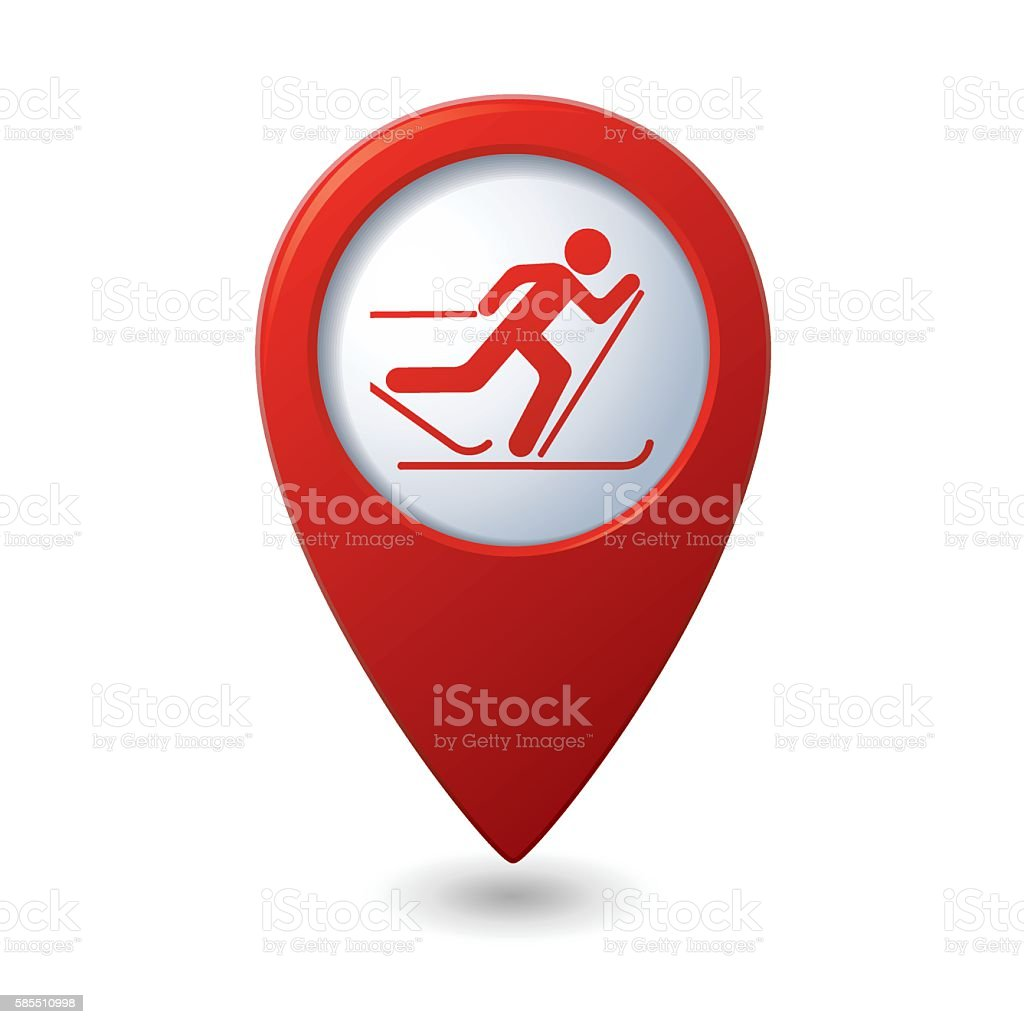Map pointer with ski track icon vector art illustration