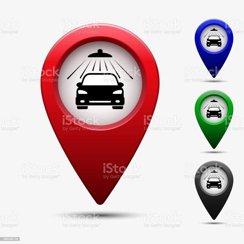 Map Pointer With Symbol Car Wash Vector Stock Vector Art More