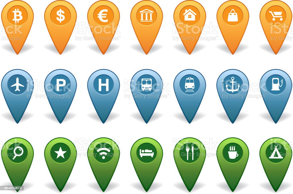 Map pointers collection for GPS navigation royalty-free map pointers collection for gps navigation stock vector art & more images of advice
