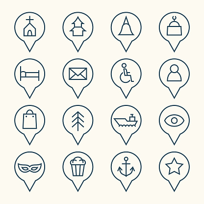 Map pointers line icons