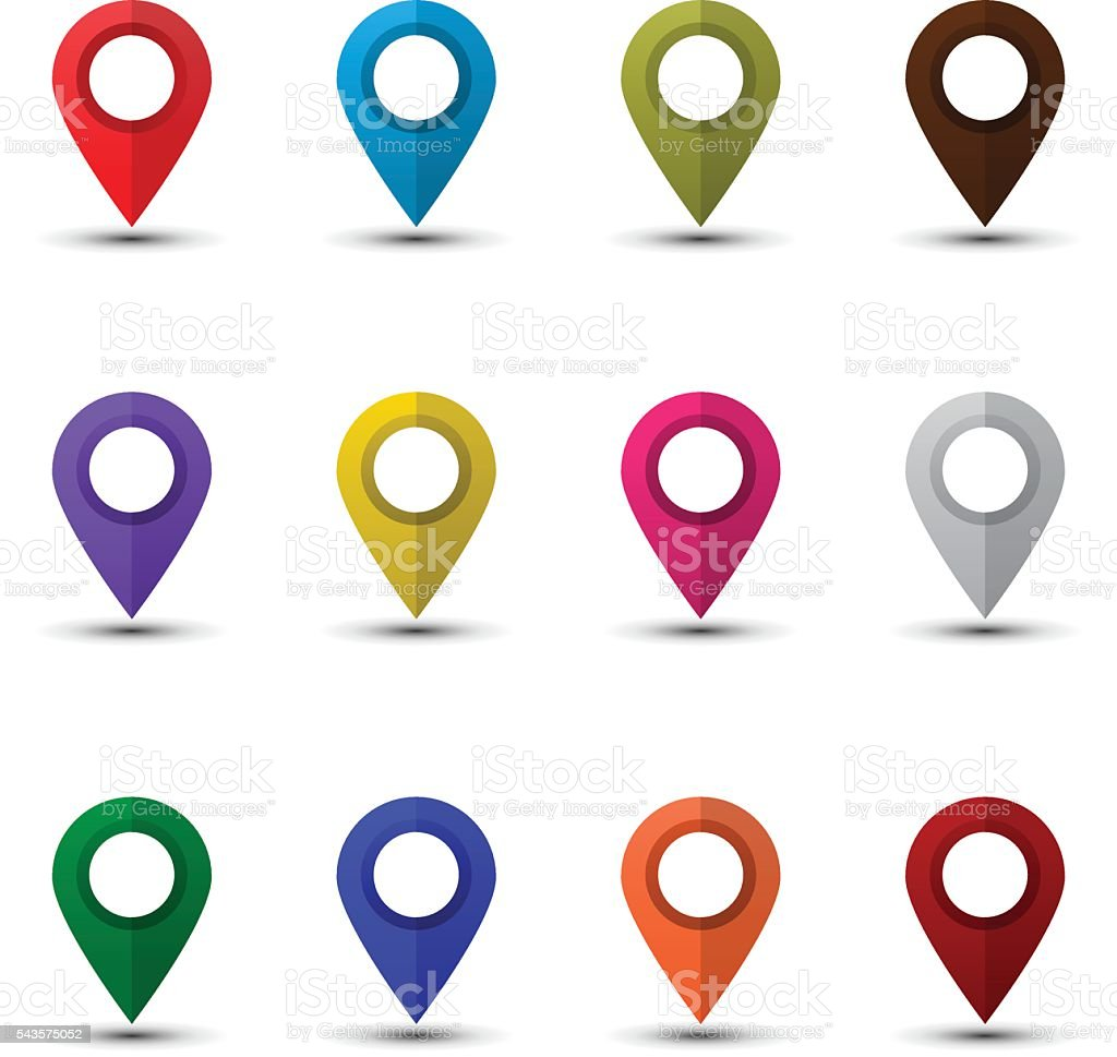 Map pointers set vector art illustration