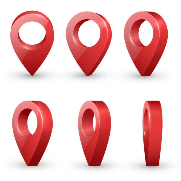 map pointers vector set - landmarks stock illustrations