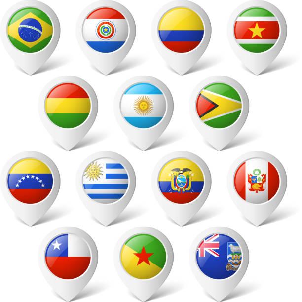 ilustraciones, imágenes clip art, dibujos animados e iconos de stock de mapa punteros con banderas.  américa del sur. - bandera de argentina