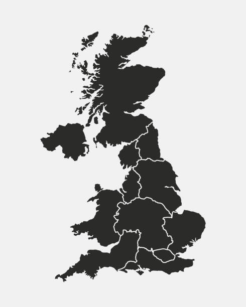uk map. poster map of united kingdom with country and regions names. vector illustration - zjednoczone królestwo stock illustrations