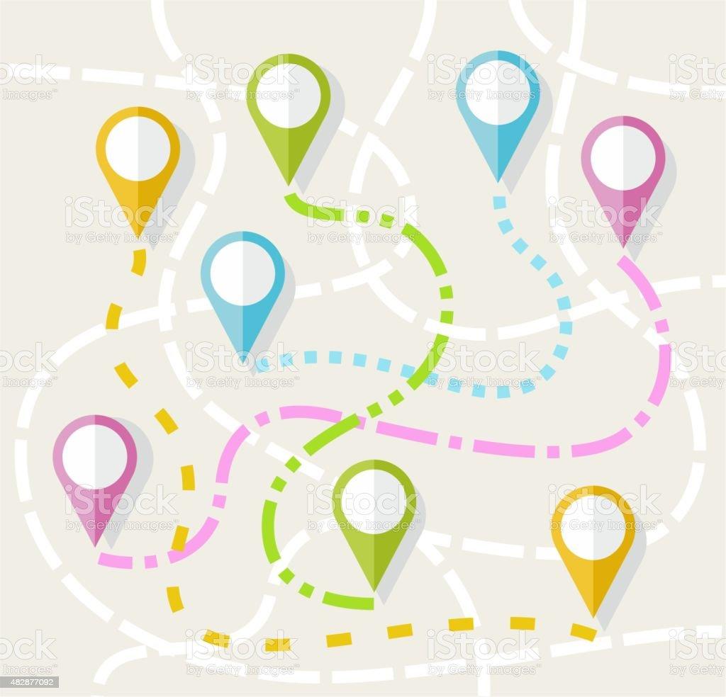 Map, route, direction, path, navigation, color, flat. vector art illustration