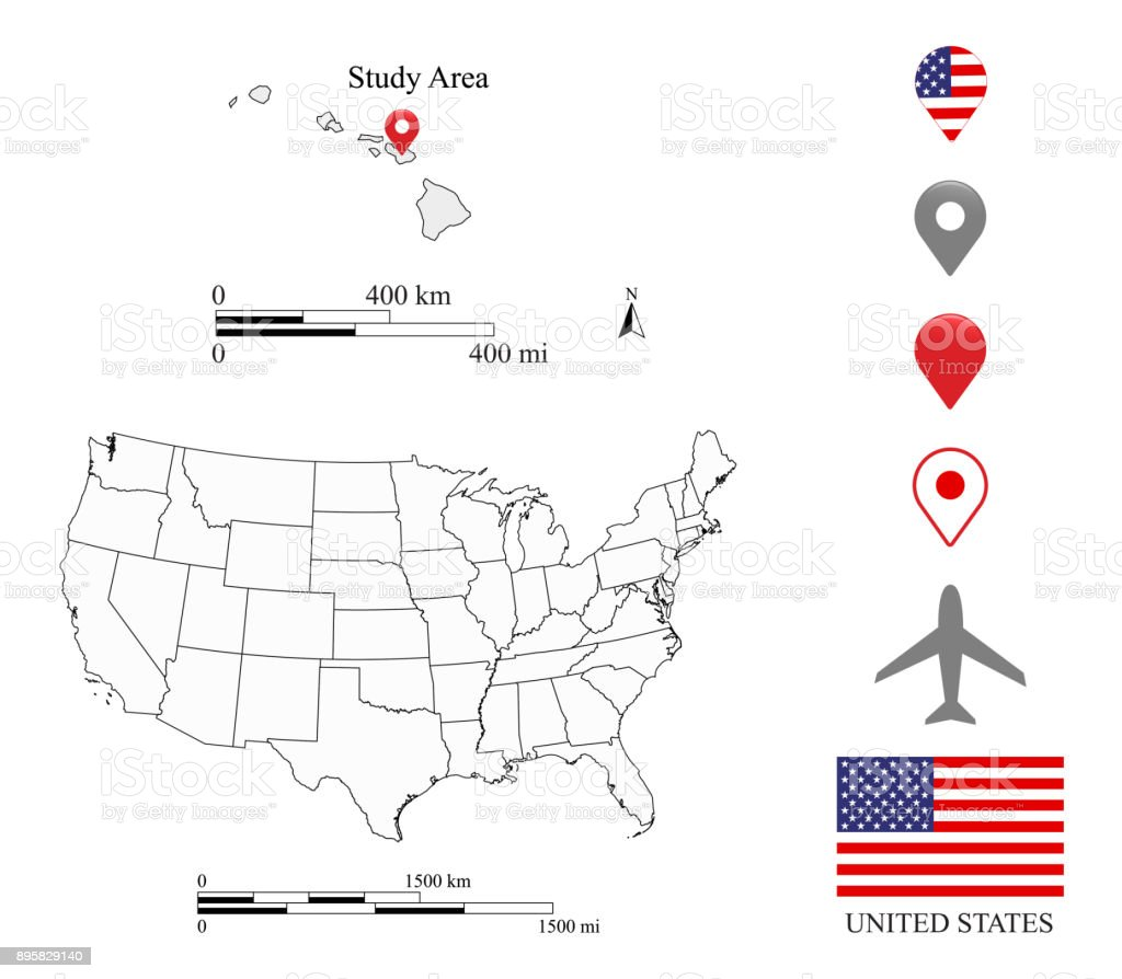 Usa Map Scale Miles And Kilometers Cartography Hawaii Map ...