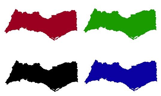 map silhouette of Faro District in Portugal