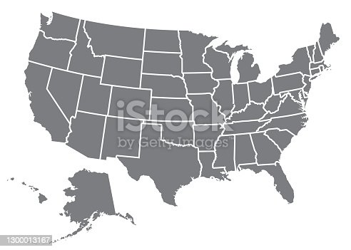 A silhouette of the USA, including Alaska and Hawaii. File is built in CMYK for optimal printing and the map is gray.