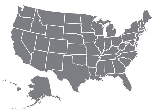 미국 지도 실루엣 - 미국 stock illustrations