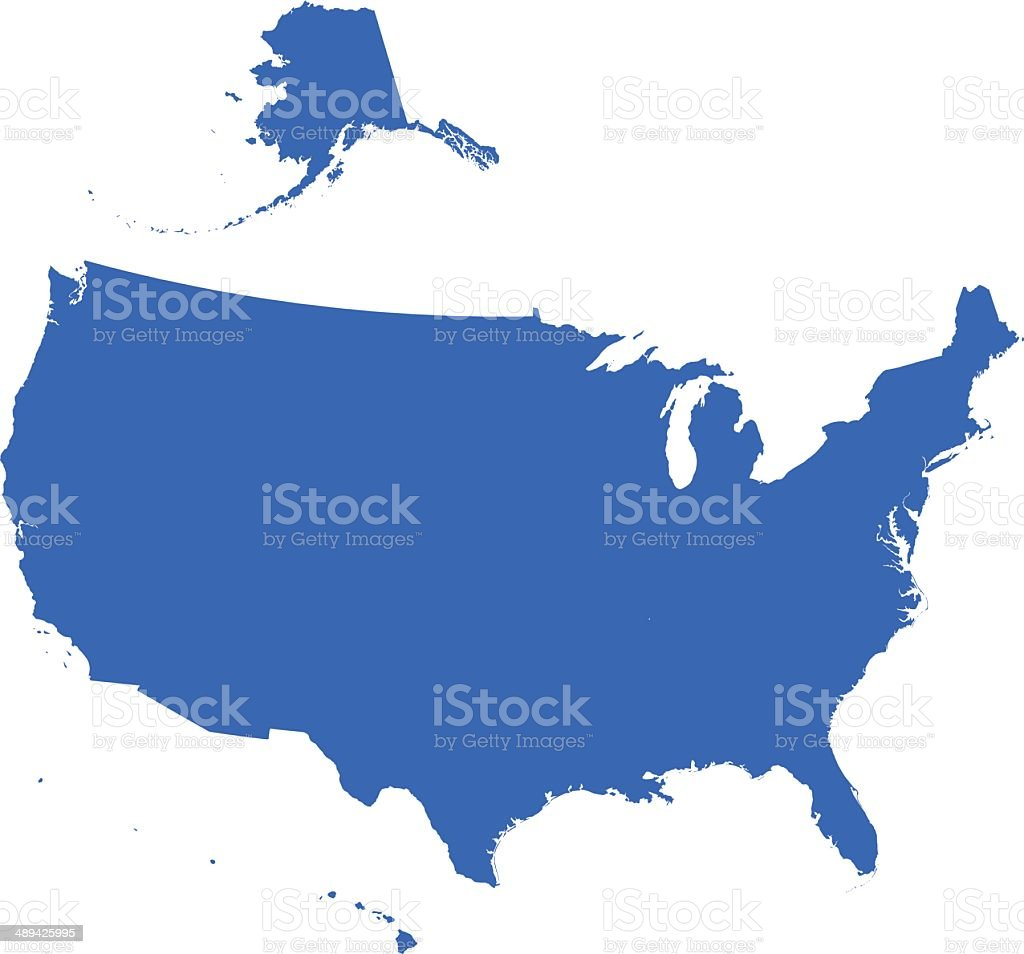 USA Map silhouette vector art illustration