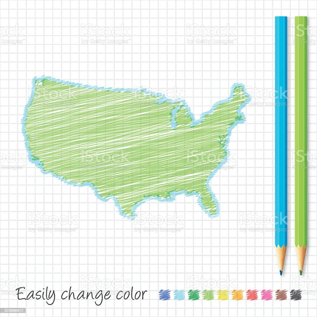 Usa Map Sketch With Color Pencils On Grid Paper Stock Vector Art - Us map sketch