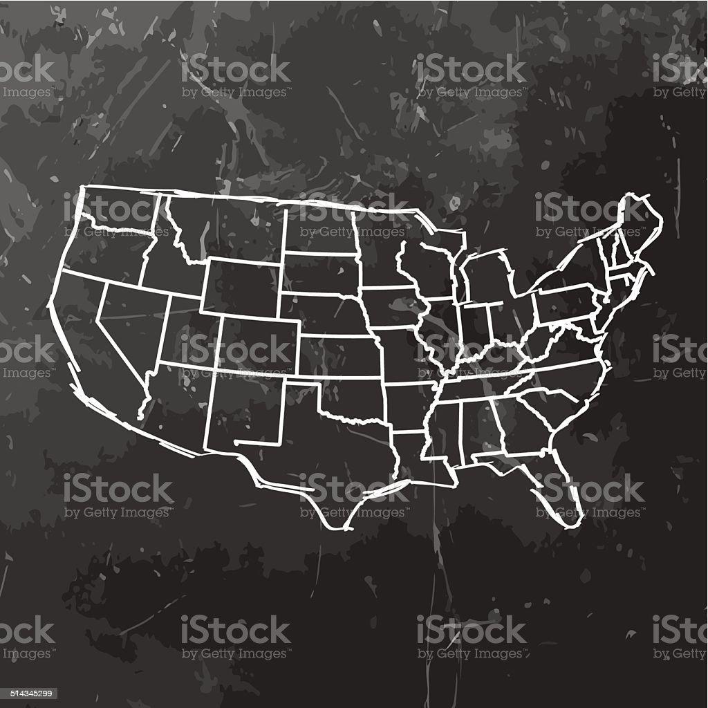Usa Map Sketched On Dark Chalkboard Background Stock Vector Art