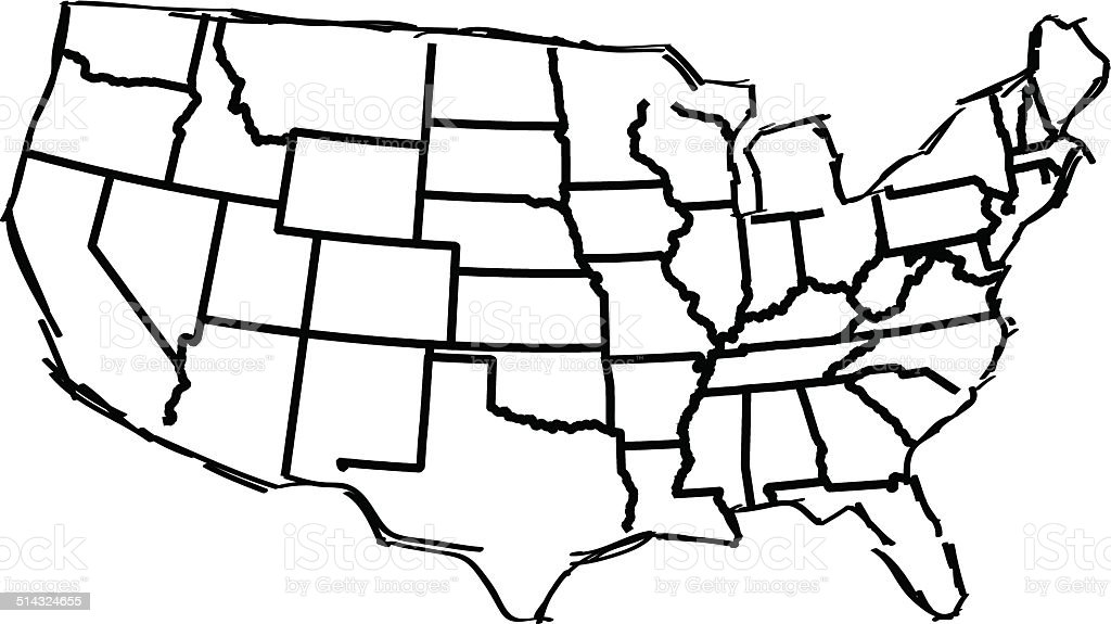 Usa Map Sketched White Background Stock Vector Art IStock - Usa map white
