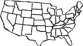 USA map sketched white background