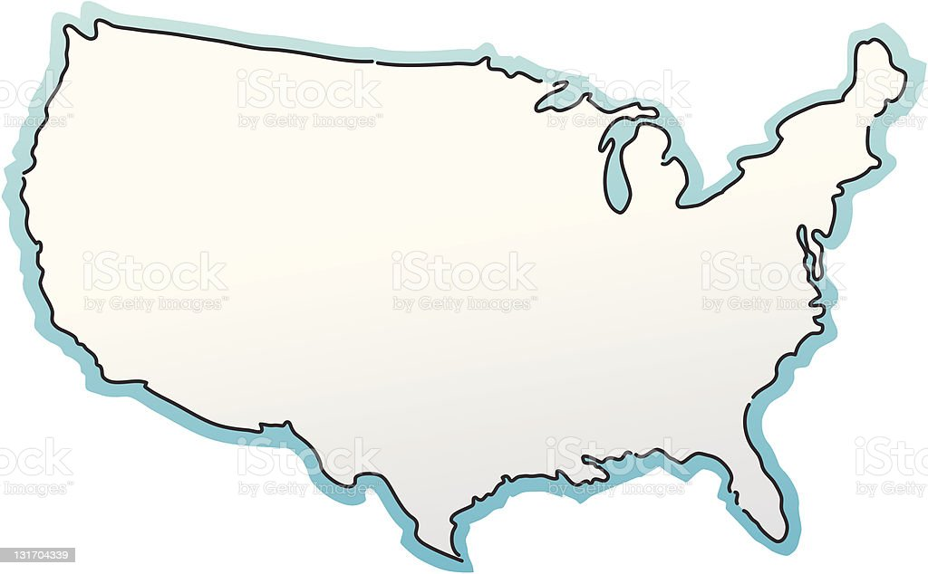 USA Map sketched with  blue border royalty-free stock vector art