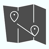 Map solid icon. Atlas with two pointers vector illustration isolated on white. World map with marks glyph style design, designed for web and app. Eps 10