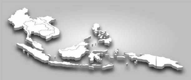 3D map Southeast asia with perspective view on gray color gradient background . Vector . vector art illustration