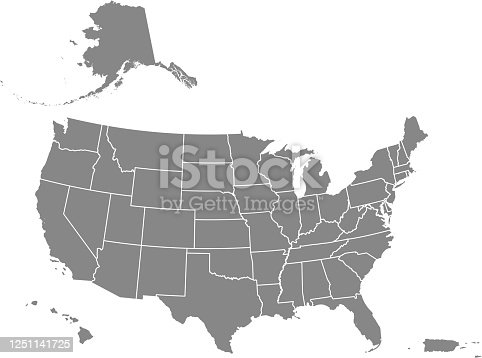 Downloadable map of United States of America. The spatial locations of Hawaii, Alaska and Puerto Rico approximately represent their actual locations on the earth.