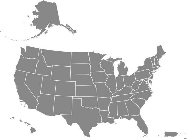 미국 지도 상태 빈 인쇄 가능 - 미국 stock illustrations