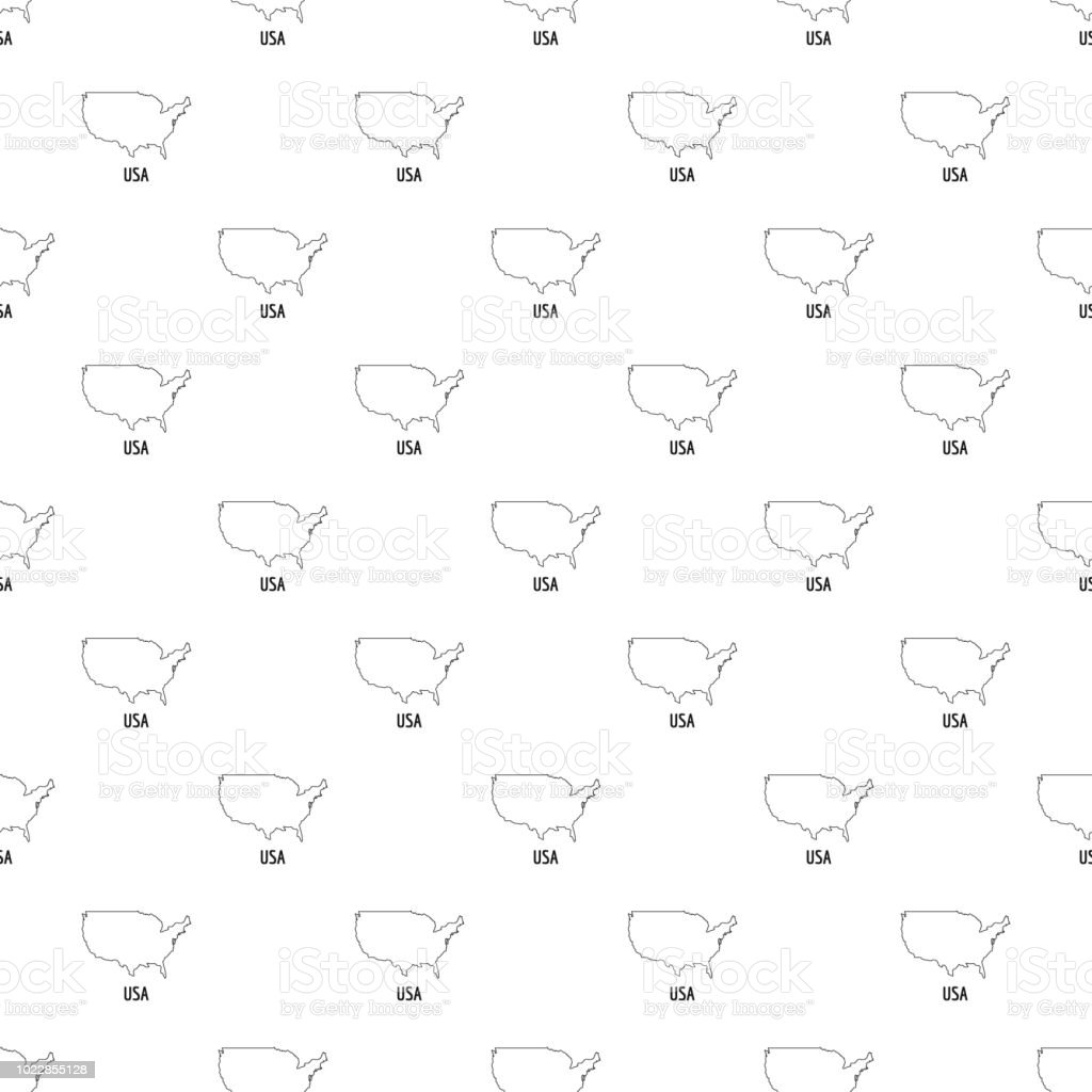 Usa Map Thin Line Vector Simple Stock Illustration
