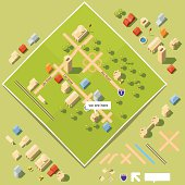 """Axonometric kit to build your own """"We have moved"""" or """"We are here"""" map. Move and arrange buildings, roads and trees anywhere on the green board to build your desired map."""