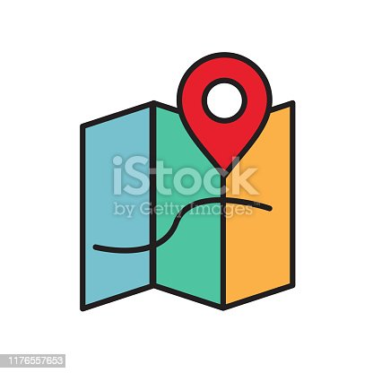 Map, traveling guide glyph icon isolated on white. EPS 10