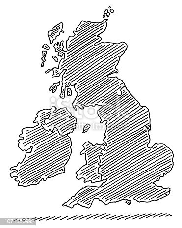 Hand-drawn vector drawing of a Map of United Kingdom And Ireland. Black-and-White sketch on a transparent background (.eps-file). Included files are EPS (v10) and Hi-Res JPG.
