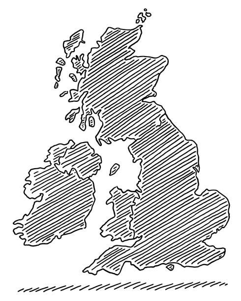 Map United Kingdom And Ireland Drawing vector art illustration