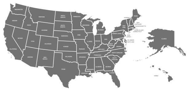 usa-karte. us-plakat mit staatennamen. geographische amerikanische karten, darunter alaska und hawaii vektorabbildung - us kultur stock-grafiken, -clipart, -cartoons und -symbole