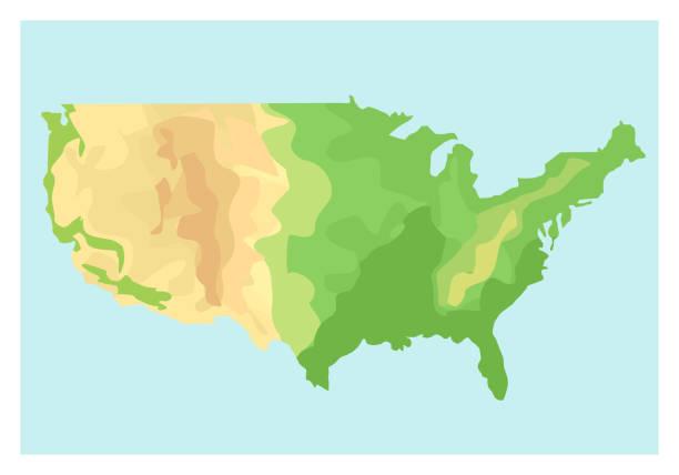 stockillustraties, clipart, cartoons en iconen met kaart van verenigde staten van amerika. vectorillustratie in vlakke stijl. eps10. - stickers met relief