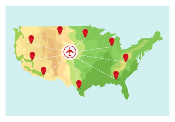 stockillustraties, clipart, cartoons en iconen met kaart van verenigde staten van amerika met punt markeringen. vectorillustratie in vlakke stijl. eps10. - stickers met relief