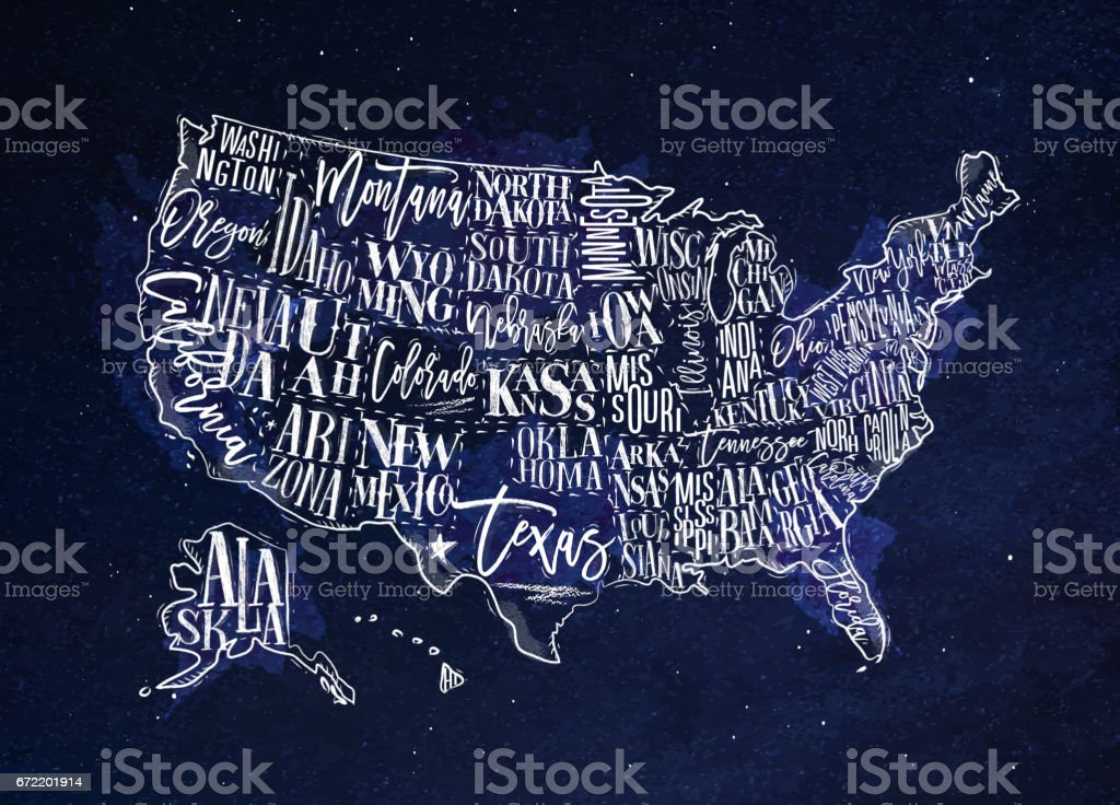 Map USA vintage blue vector art illustration