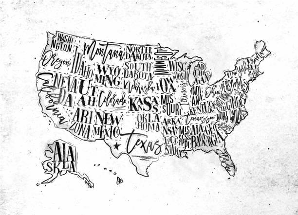 Map USA vintage vector art illustration