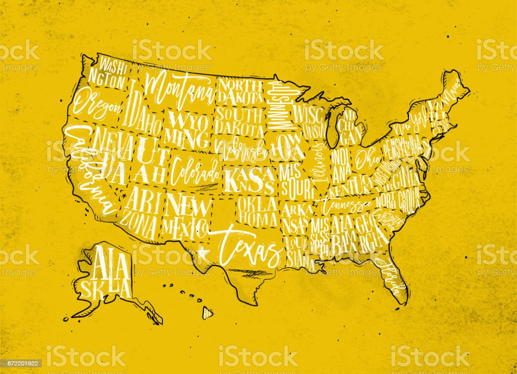 Map USA vintage yellow - ilustración de arte vectorial