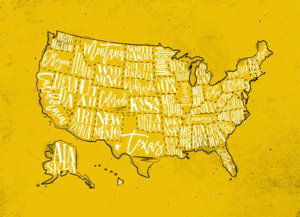 map usa vintage yellow - missouri stock illustrations