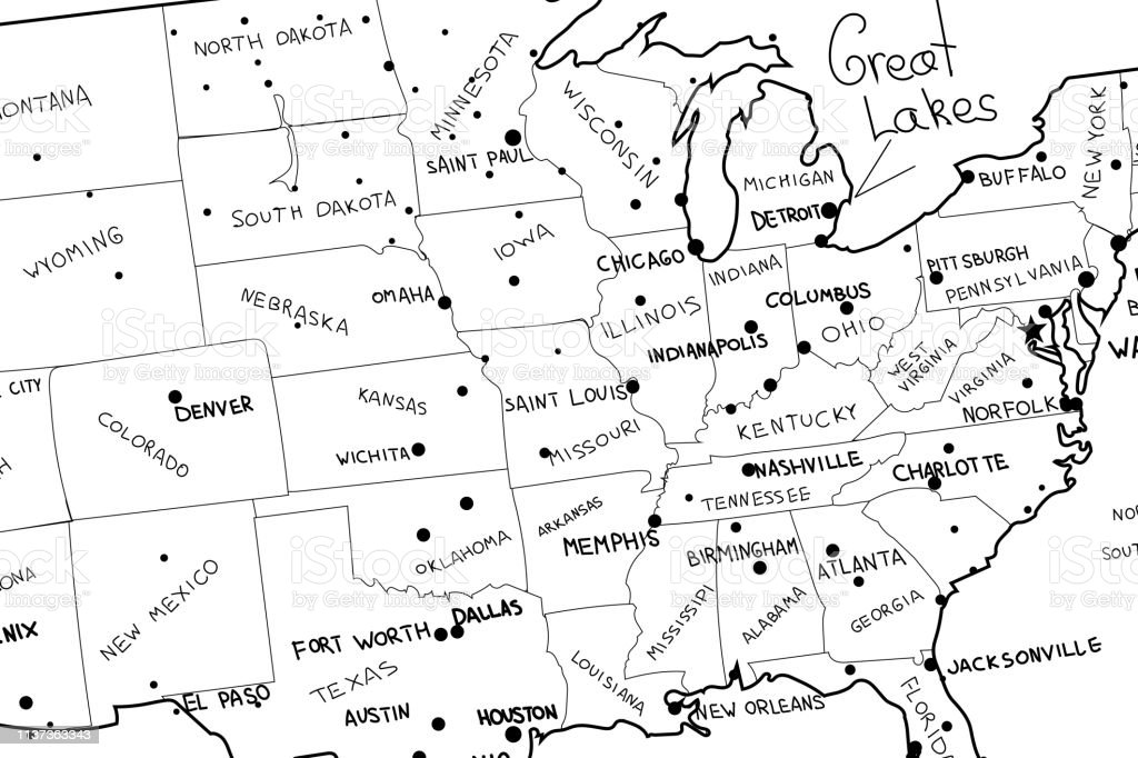 Usa Map Vector Hand Drawned Vector Illustration Of United ...