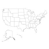 Vector illustration of the contour of the map of the United States of America
