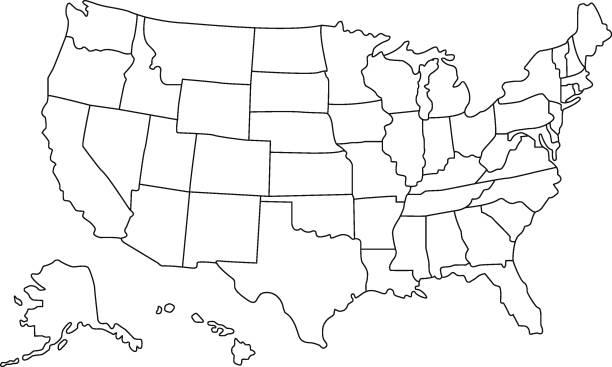 미국 지도 - 미국 stock illustrations