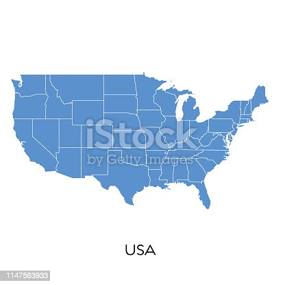 Vector illustration of the map of USA
