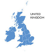 Vector illustration of the map of UK