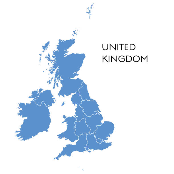 UK map Vector illustration of the map of UK country geographic area stock illustrations