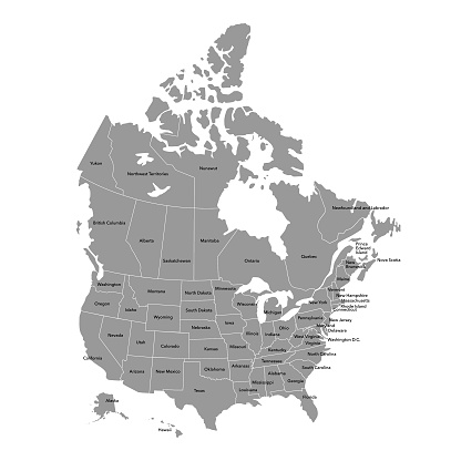 Vector illustration of the map of the United States of America and Canada