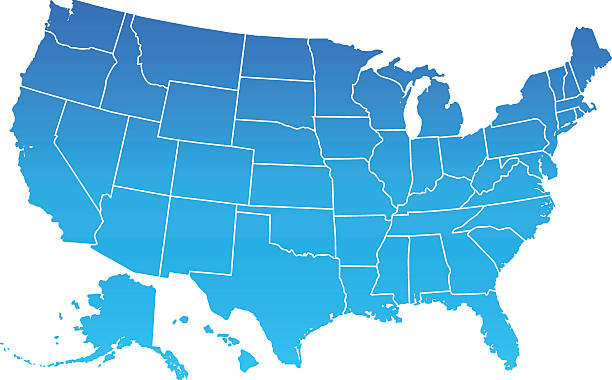 usa map - blue clipart stock illustrations