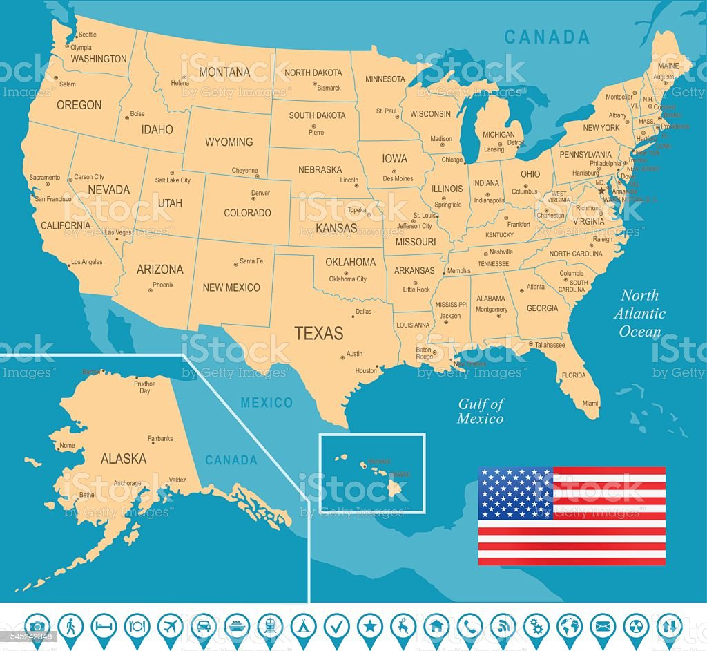 Usa Map Stock Vector Art & More Images of Alabama - US State - iStock