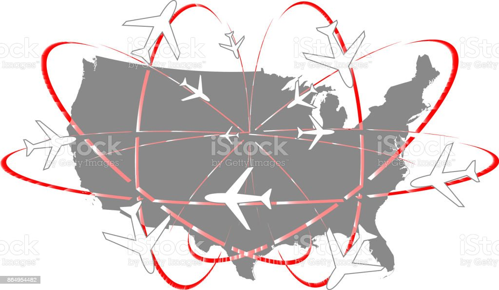 Usa Map Vector Outline Abstract Illustration Gray Background ...