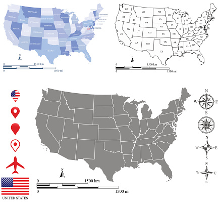 Usa Map Vector Outline Background With Mileage And Kilometer Scales ...