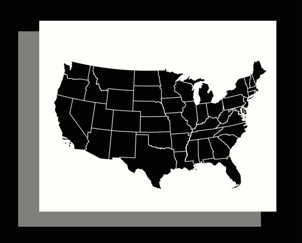 USA map vector outline illustration in an abstract black and white background This modern abstract design of USA map can be printed as a decoration on the wall. florida us state stock illustrations
